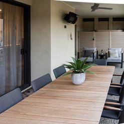 Outside terrace area of a luxury villa at La Dimora retirement community one hour north of Melbourne