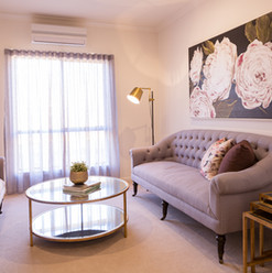 Luxury reading nook in a pet friendly villa at La Dimora retirement communitu one hour north of Mebourne