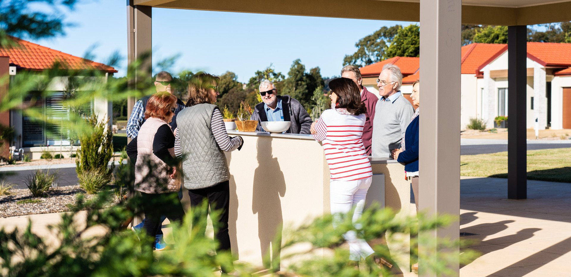 residents using the comunal barbeque area as part of the premium facilities on offer at La Dimora Retirement Village