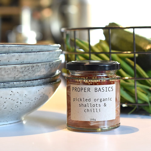 Proper Basics Pickled Organic Shallots & Chilli 180g