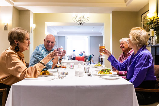 Residents enjoying dinner at the 5 star dining service at Rylands retirement village in Melbourne's east