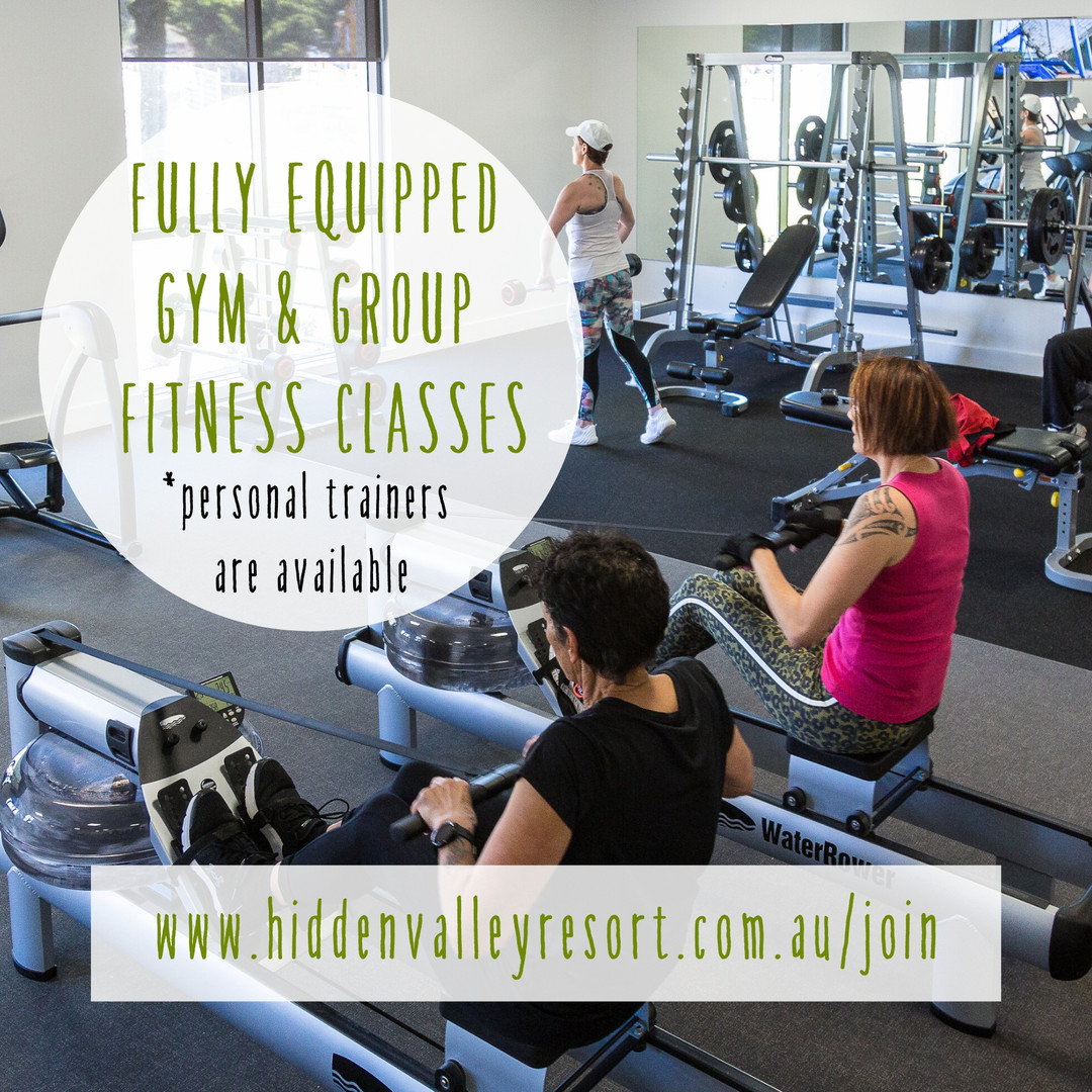 Fully equipped gym and group fitness classes at Hidden Valley resort country club near Wallan Victoria