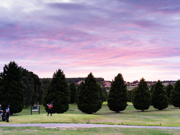 Sunrise over the 18 hole championship golf course at Hidden Valley resort and country club 30 minutes from the airport