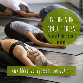 Discounts on group fitness classes for country club members at Hidden Valley resort near Wallan Victoria