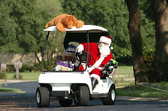 Santa on a golf cart as part of the functions and events at Hidden valley resort country club 50 minutes from Melbourne