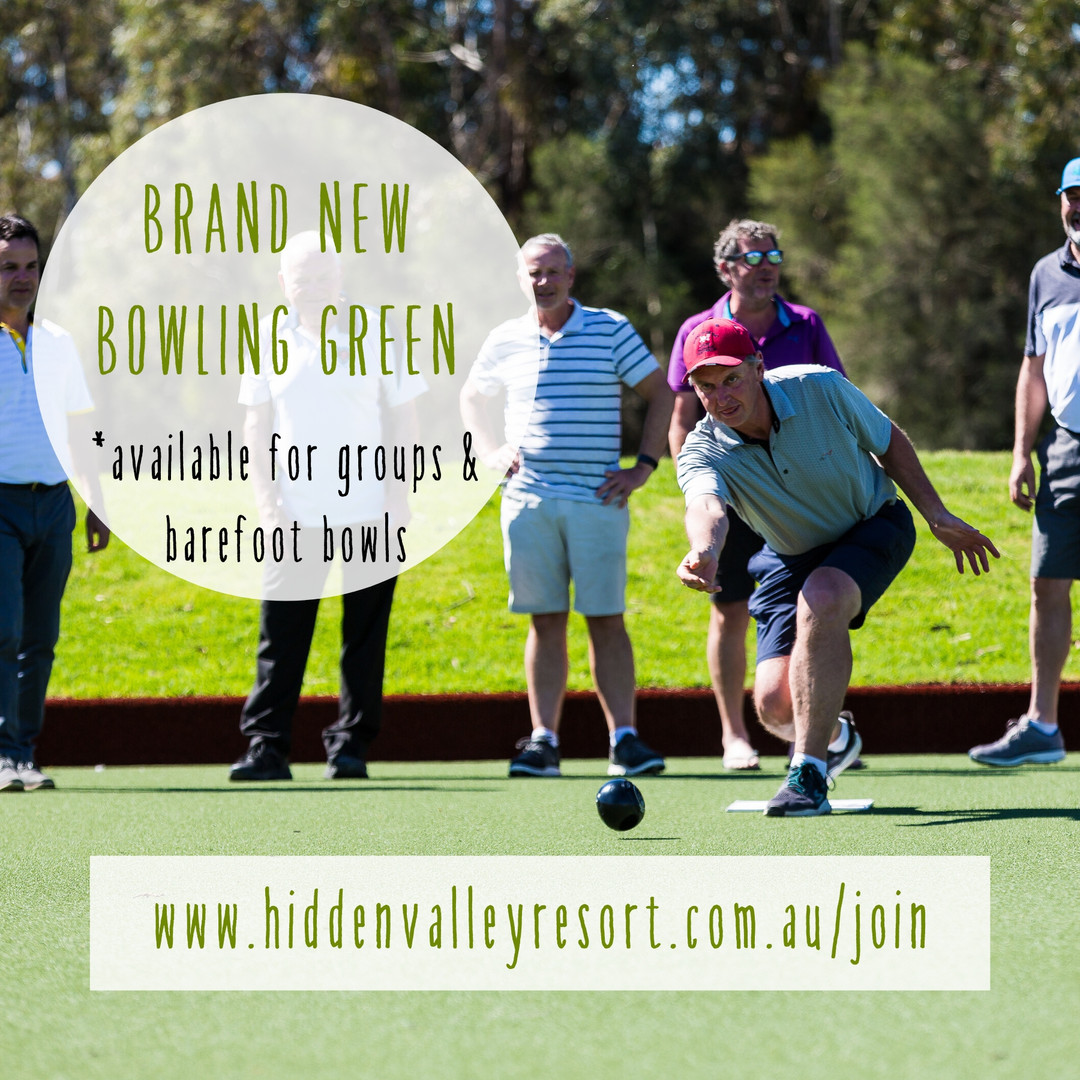 Brand new bowling green avaliable at Hidden valley resort and country club 45 minutes from Melbourne