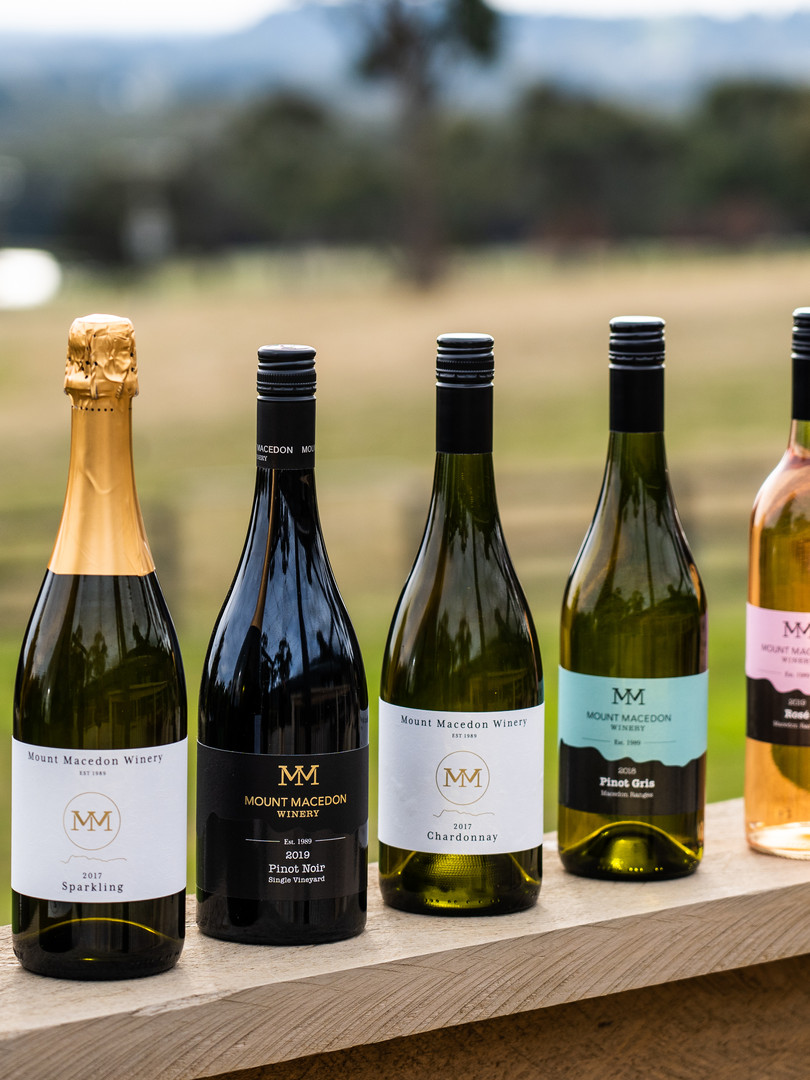 Selection of wines from Mount Macedon Winery