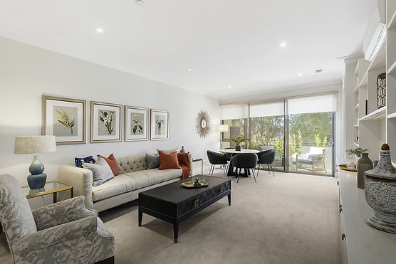 Large spacious luxury interior of a modern apartment at Rylands retirement village in east Melbourne