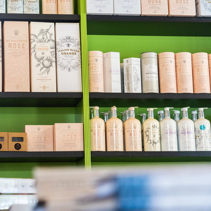 Mount Macedon Trading Post cafe display shelves with local produce