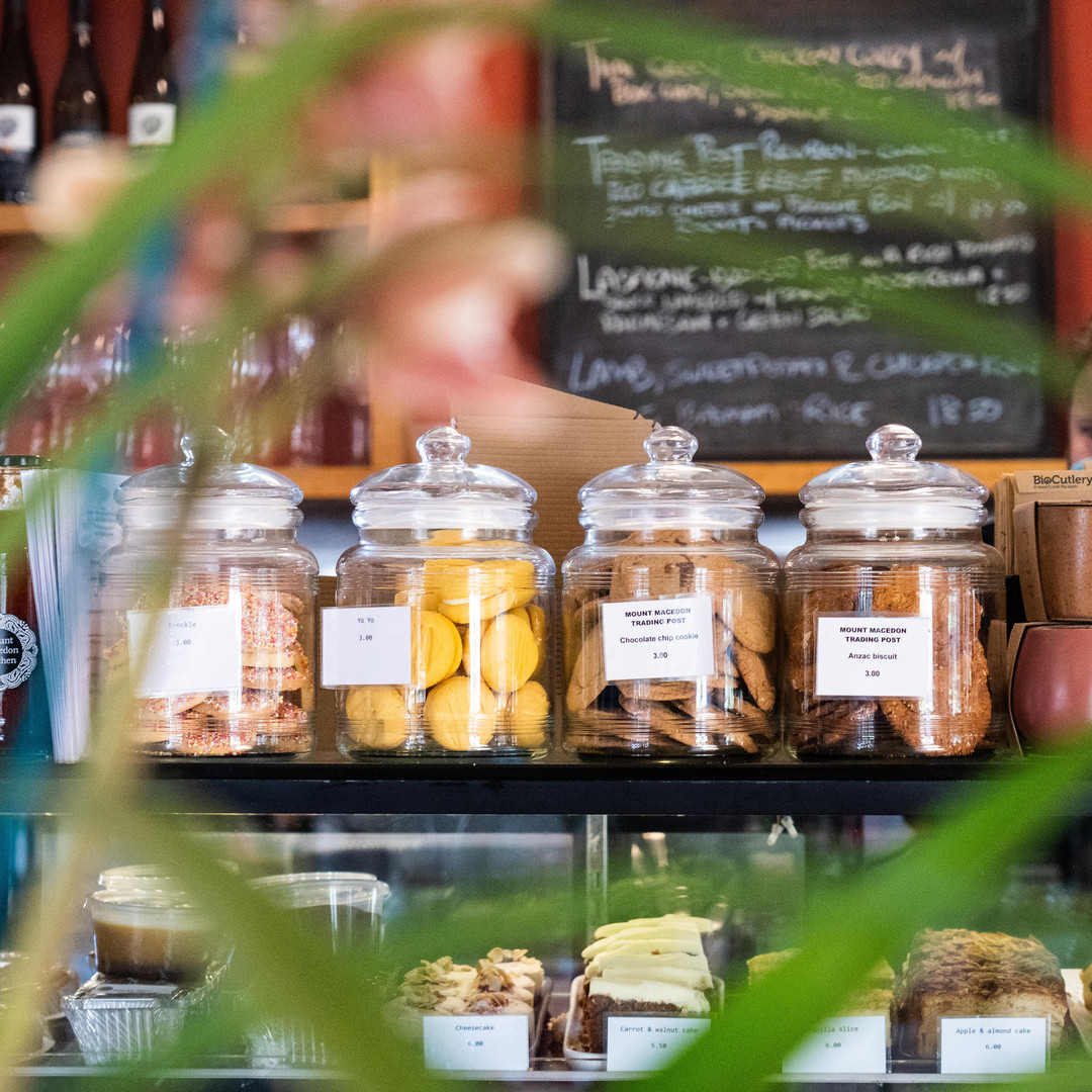 Mount Macedon Trading Post Cafe house baked treats on display in jars on the front counter