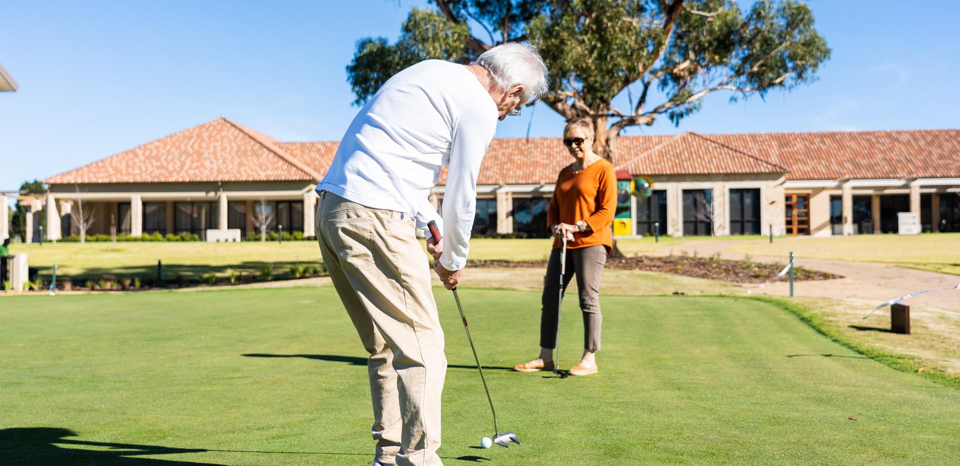 La Dimora Retirement Village residents practising on the putting green at Hidden Valley Resort