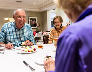 Residents enjoying a meal at the premium restaurant at Rylands Retirement Village
