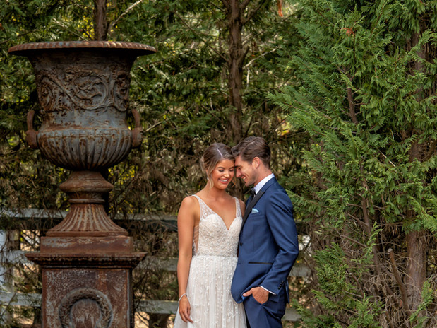 A wedding couple during their wedding shoot in the beautiful natural surrounds of Hidden Valley resort and country club
