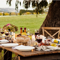 Outdoor sitting dinner setting at Hidden Valley resort country club in Wallan Victoria