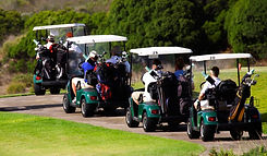 Group golf booking on golf carts at Hidden Valley resort country club near Wallan Victoria