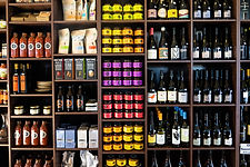 Wall of local and store made produce at Mount Macedon Trading Post Cafe and Kitchen