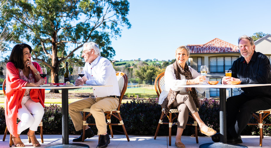 Residents from La Dimora Retirement Resort having afternoon tea at the grove on the terrace Just one hour north of Melbourne