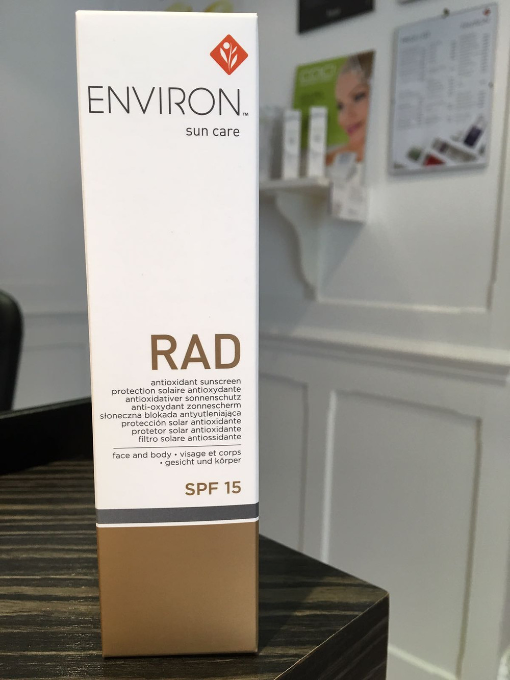 A retail package of our Environ RAD sun care available at Annas Touch of Beauty Salon, Northwood.