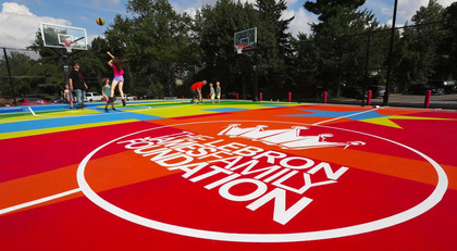 3,000 pairs of Lebron James shoes combine to make the subflooring of a basketball court.