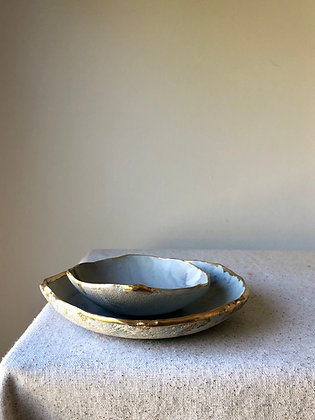Pair of Marbled Gold-Edged Dishes