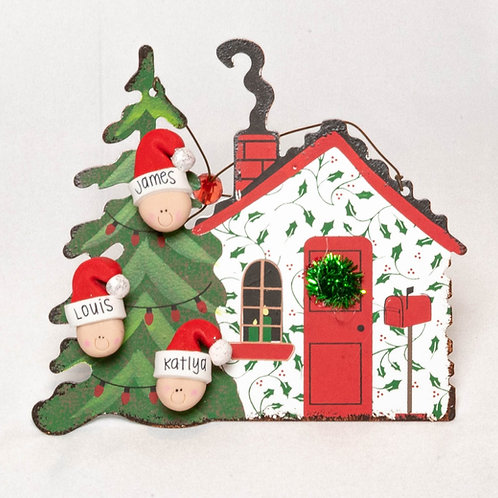 Family of 3 House Ornament