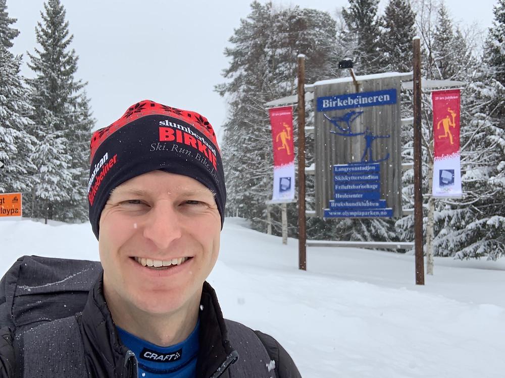 Fresh snow falling on the Birken trails in Lillehammer