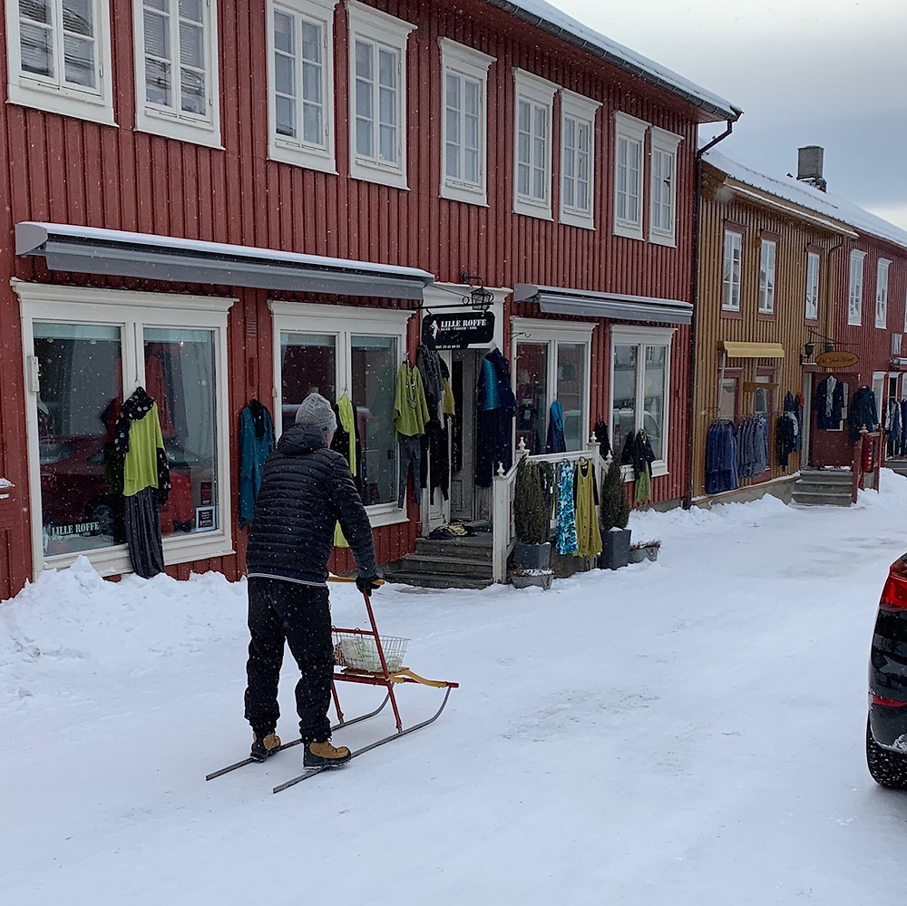 A sled in the streets of Røros, Norway