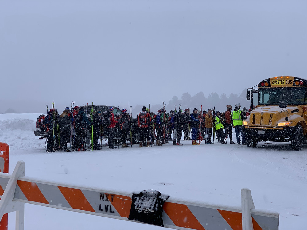 Birkie skiers awaiting bus to the starting area in Cable, WI.