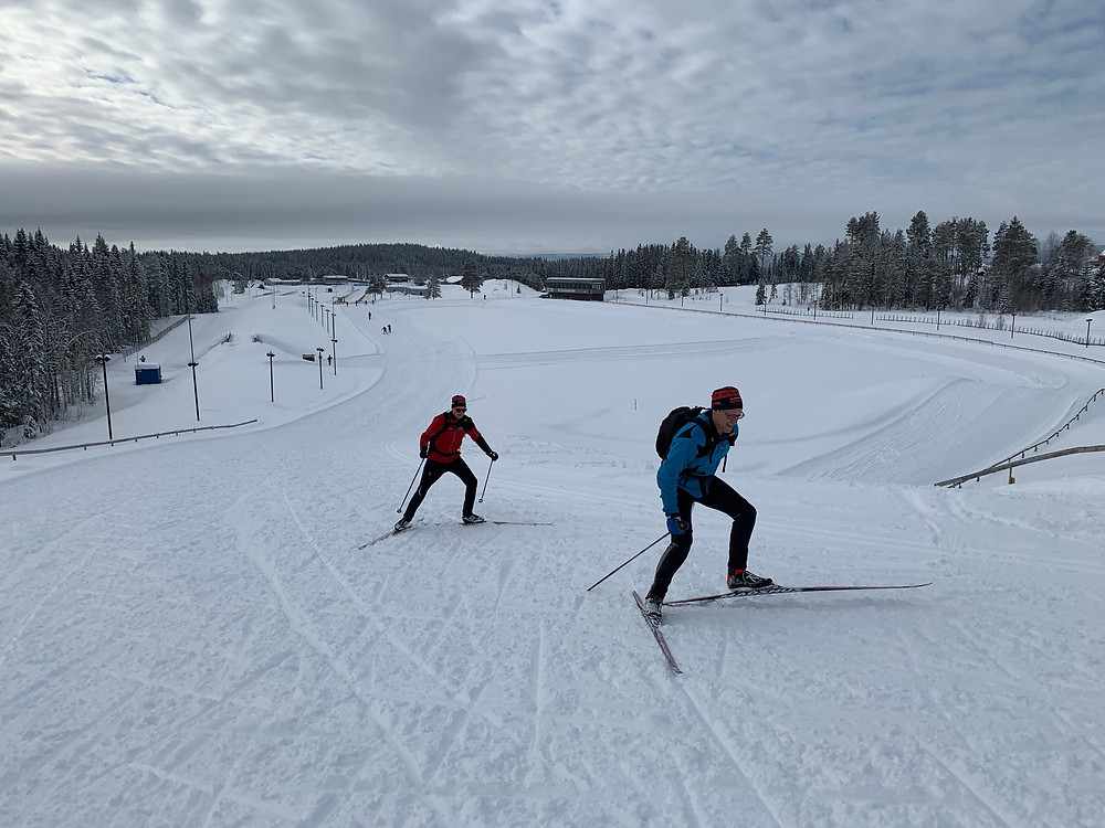 Skate skiers on the Birken trails in Lillehammer, Norway