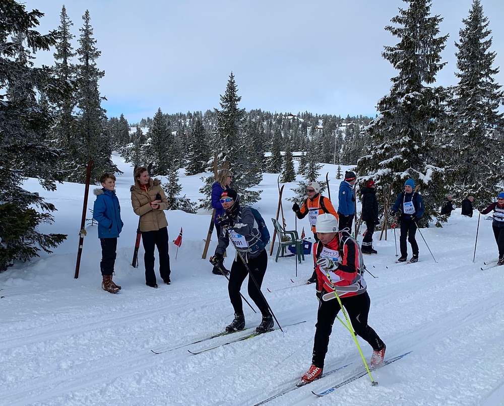 Skiers and spectators on the trail at the Birkebeinerrennet near Lillehammer