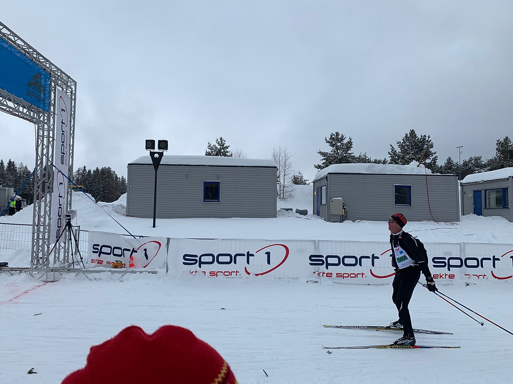 Skier finishing the SkateBirken in Lillehammer, Norway