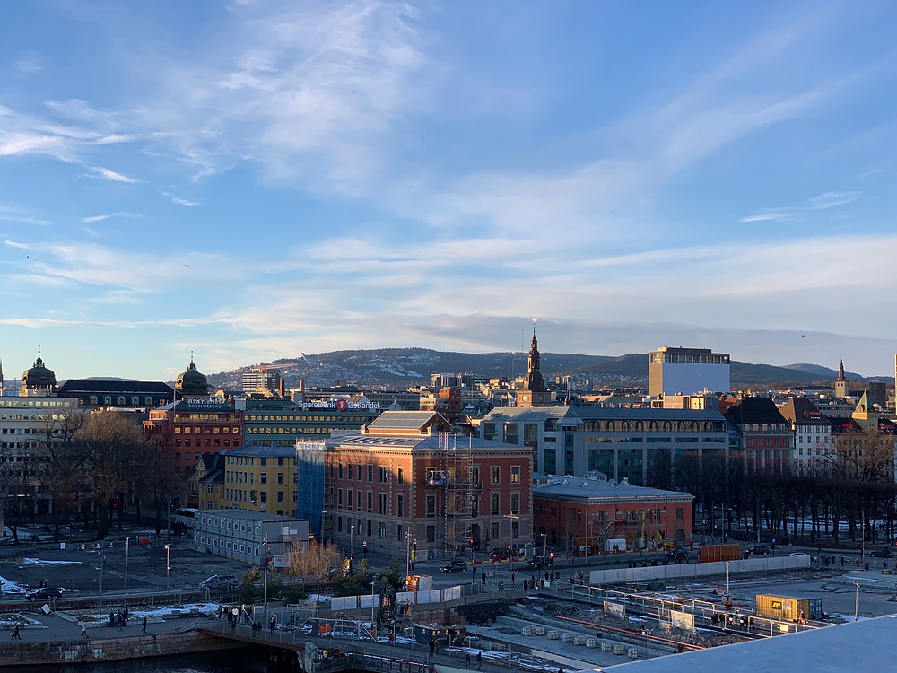 Evening view of central Oslo