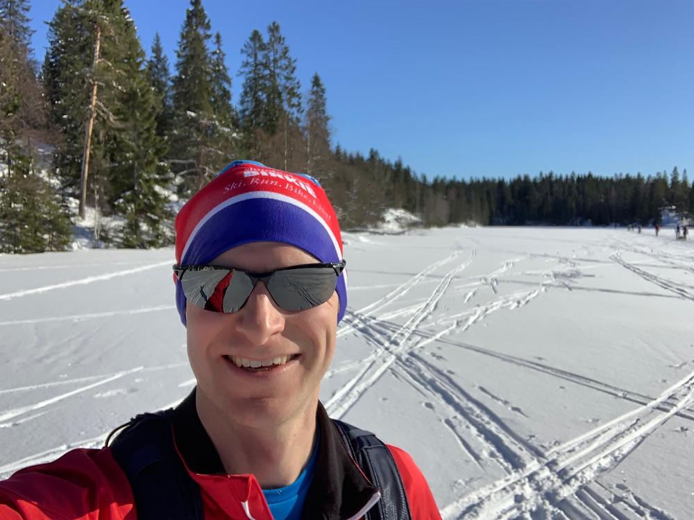 A lake at Sognsvann cross country ski trails.