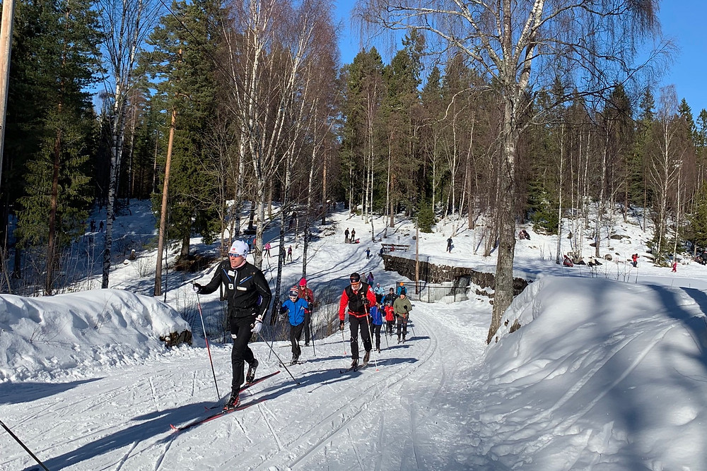 The trails at Sognsvann in the Marka near Oslo are packed with cross country skiers.
