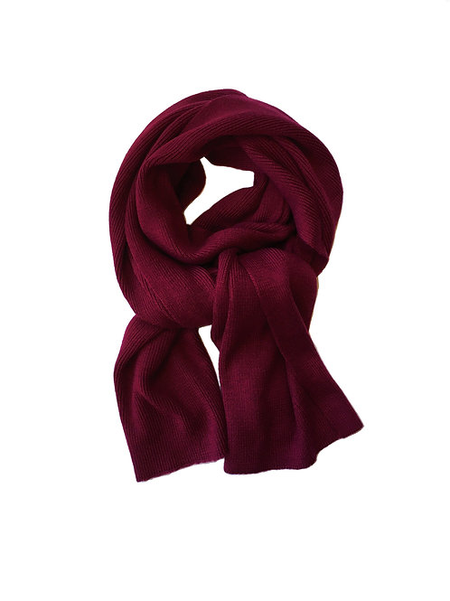 Cashmere blend knitted scarf - burgundy