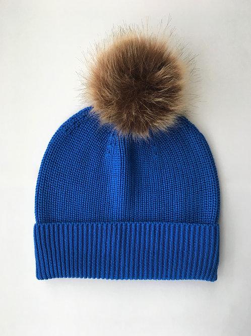 Cashmere blend rib knit beanie blue