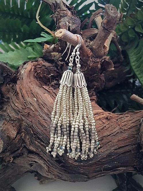 silver and rainbow blue glass bead tassel earrings