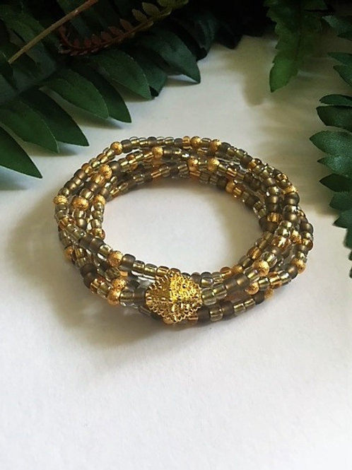 wrap seed bead bracelet/necklace - golds with gold
