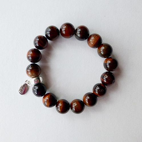 Tiger eye quartz stone bead bracelet with charm tassel carrier