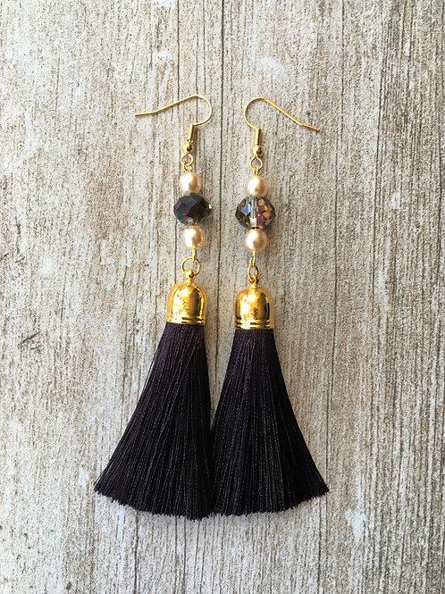 pearl and crystal bead tassel earrings - chocolate brown