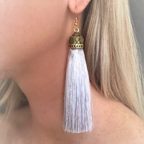 Extra large chunky silk tassel earrings -silver