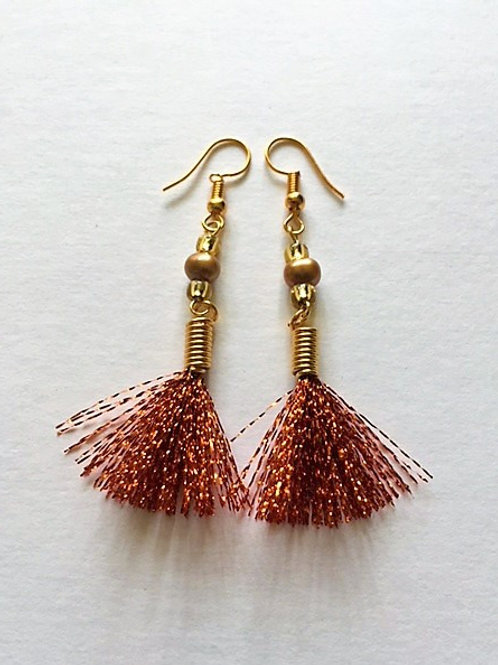 shimmer flash tassel earings with freshwater pearl - copper