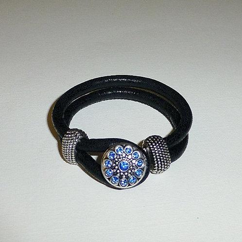 black leather snap bracelet