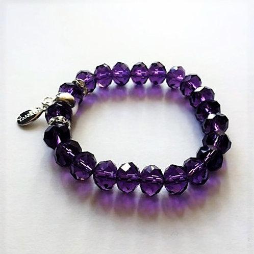 purple clear glass bead bracelet with tassel carrier
