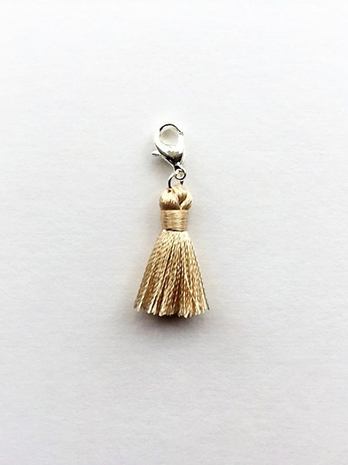 mini - ivory silk tassel charm  - 20mm