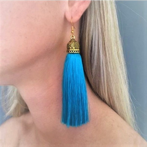Extra large chunky silk tassel earrings - turquoise