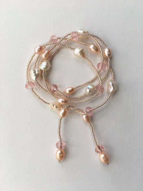 long self tie pearl necklace - pale salmon pink