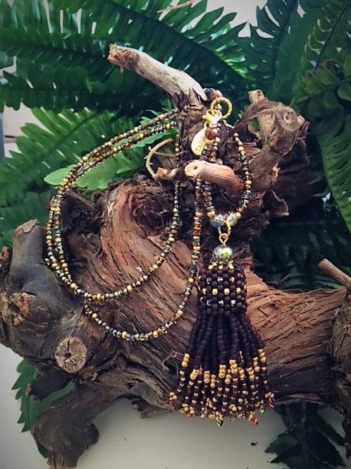 Burgundy coloured matt and gold seed bead tassel necklace