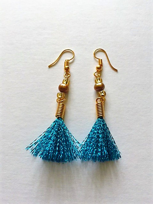 shimmer flash tassel earings with freshwater pearl - turquoise 2 options