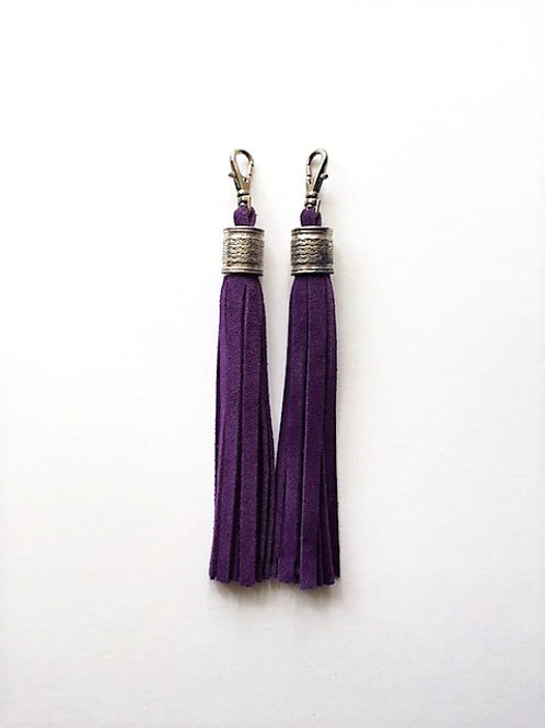 Boot tassels - purple suede with silver collar